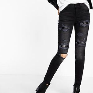 Express Sequin Mid Rise Legging Distressed Jeans